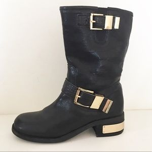 Vince Camuto Walda Leather Moto Boots